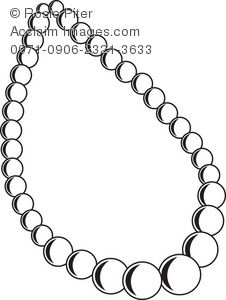 Clip Art Illustration Of The Outline Of A Pearl Necklace.