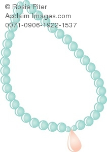 Clip Art Illustration Of A Blue Pearl Necklace With A Pink Jewel.