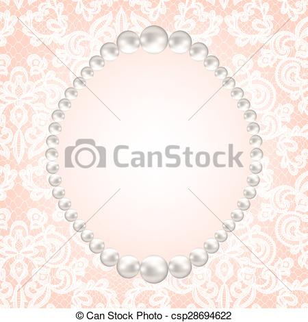 Vector Illustration of pearl frame on lace background.