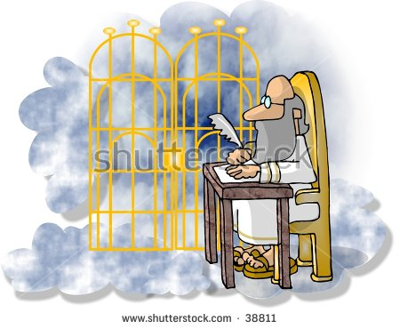 Clipart Illustration St Peter Pearly Gates Stock Illustration.