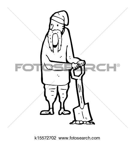 Clip Art of cartoon peasant digging k15572702.