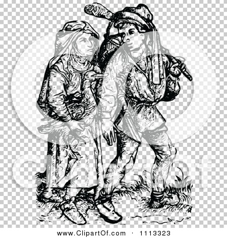Clipart Vintage Black And White Medieval Peasants.