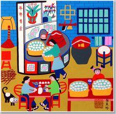 Chinese peasant painting, Chinese folk art, Jinshan peasant.