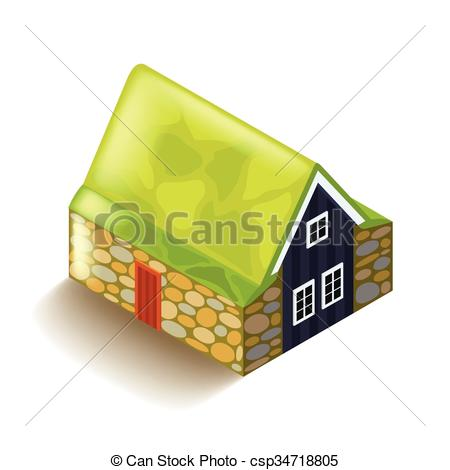 Vector Clipart of Icelandic peat house isolated on white vector.