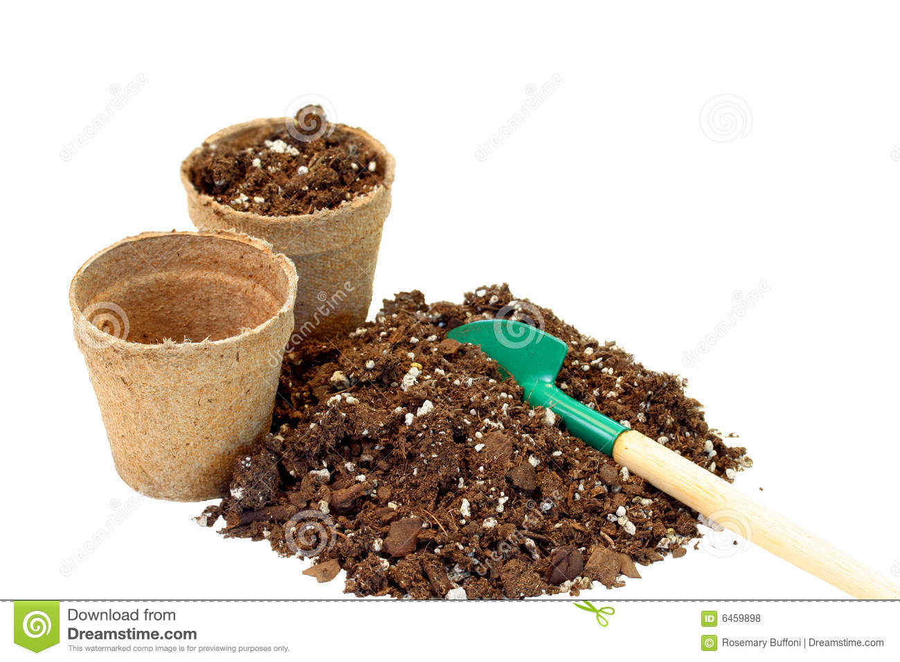 Peat Pots And Soil Royalty Free Stock Photos.