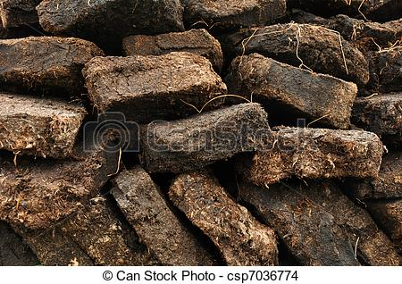 Stock Photo of close up of peat digging on Harris, Scotland.