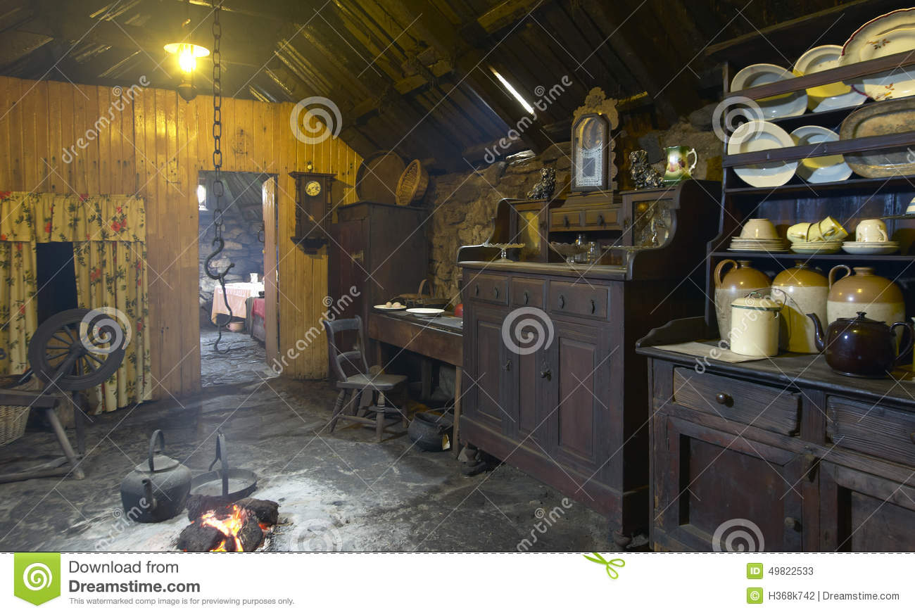 Traditional Scottish Home Interior With Peat Fire. Lewis Isle. U.