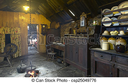 Picture of Traditional scottish home interior with peat fire.