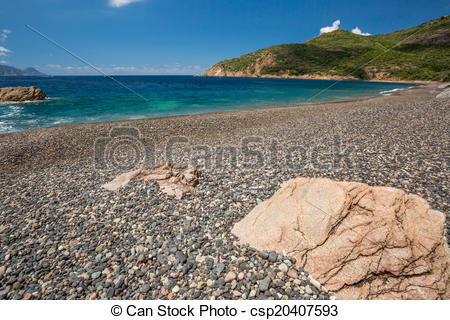 Stock Illustration of Rocks and pebble beach at Bussaglia on west.