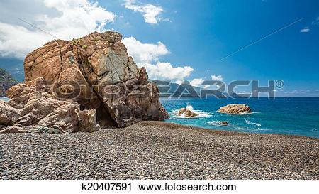 Clipart of Rocks and pebble beach at Bussaglia on west coast of.