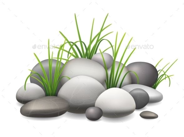 Stones and Green Grass by belander A pile of stones and.