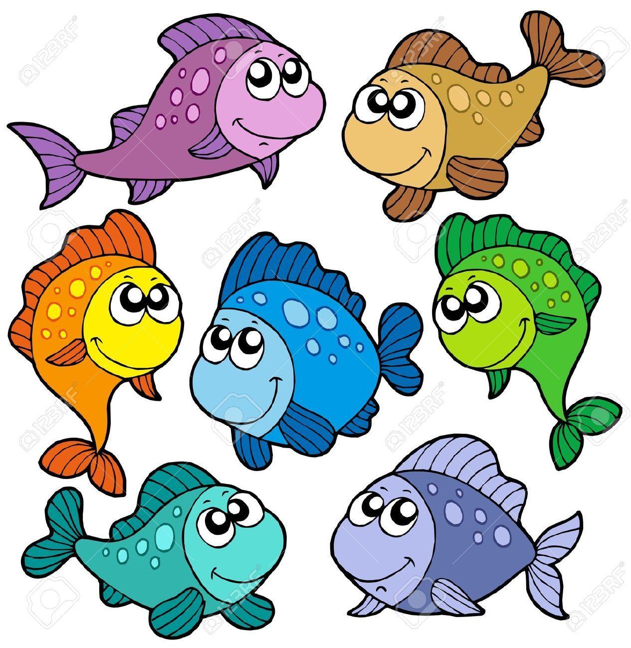 dibujos animados de peces y animales marinos.