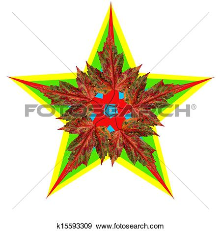 Stock Illustration of Star with autumn leaves k15593309.