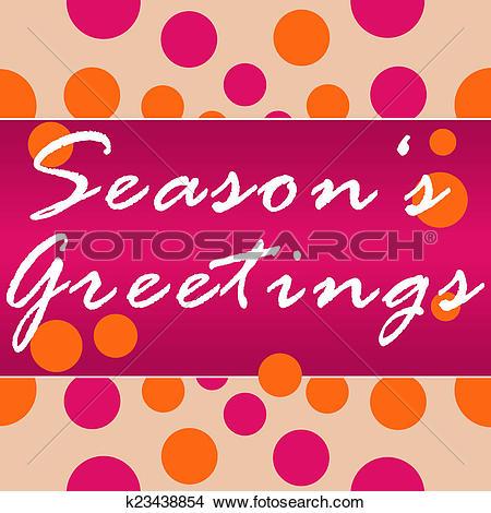 Drawings of Seasons Greetings Peach Pink Circle k23438854.