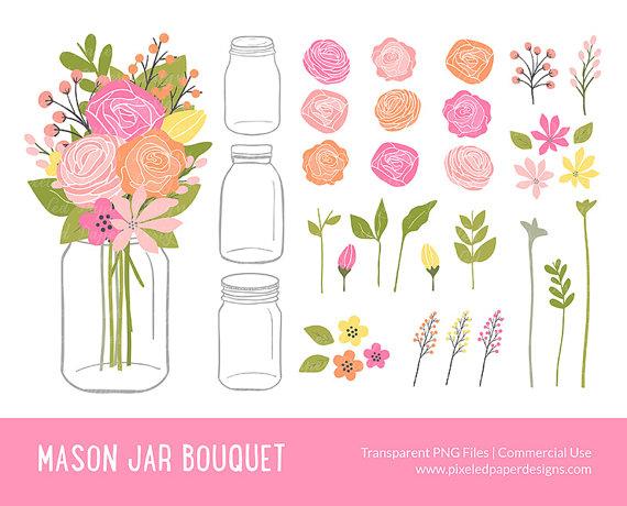 "Mason Jar Flowers Clip Art: ""MASON JAR BOUQUET"" Rose, Ranunculus."