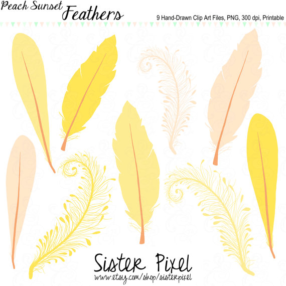 Feather Clip Art In Peachy Pink Goldenrod And Yellow For Personal.