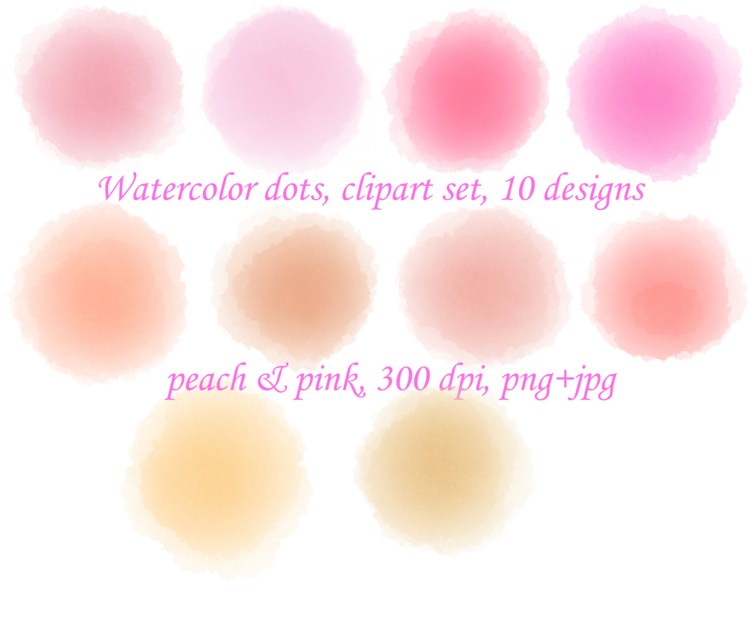 Watercolor circle clip art Pink Watercolor by UphillRunning.