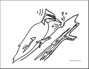 Clip Art: Basic Words: Peck (coloring page).