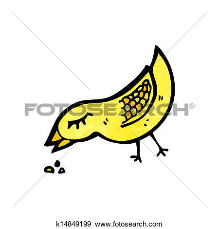 Clipart of bird pecking seed cartoon k15549970.