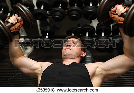Pictures of training dumbells gym pecks k3535918.