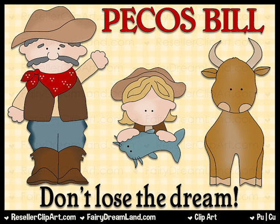 Pecos Bill Digital Clip Art Commercial Use Graphic Image Png.