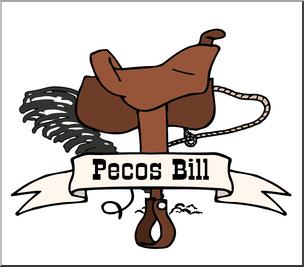 Clip Art: US Folklore: Pecos Bill COlor 2 I abcteach.com.