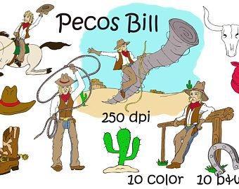 Tall tales, Pecos Bill, Cowboy clip art, Ranch, riding a.