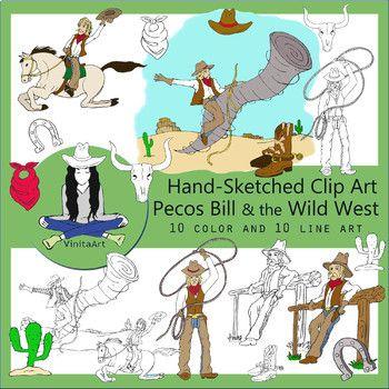 Pecos Bill Clip Art, Tall Tales, Wild West.
