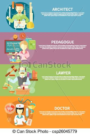 Vectors Illustration of Architect, lawyer, doctor and pedagogue.