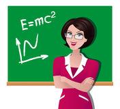 An Illustration Of Beautiful Teacher At School Stock Vector.