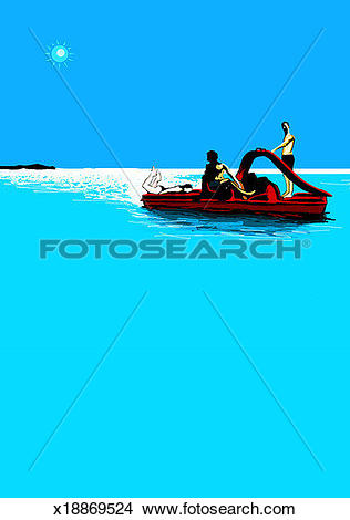 Drawings of Two men and woman on pedalo floating in sea x18869524.