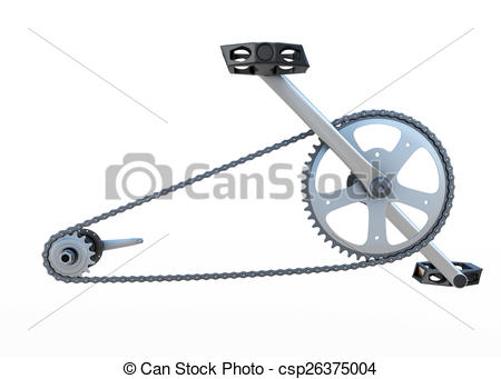 Stock Illustration of Bicycle chain with pedals front view.