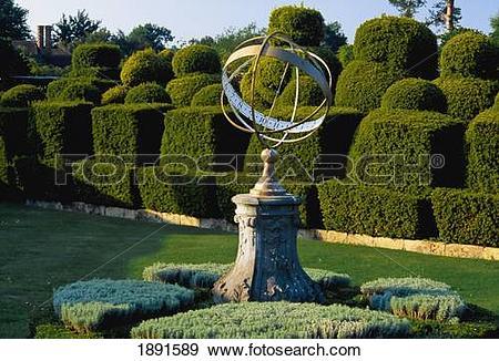 Stock Photograph Of Sundial On Pedestal In Garden Of Hever Castle.