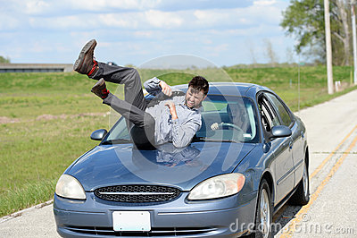 Woman Hit By A Car Royalty Free Stock Image.