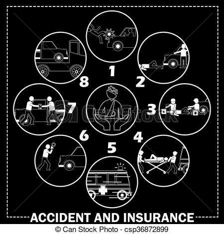 EPS Vectors of Shape icons about pedestrian hit by car accident.
