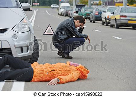 Clip Art of accident. knocked down pedestrian.