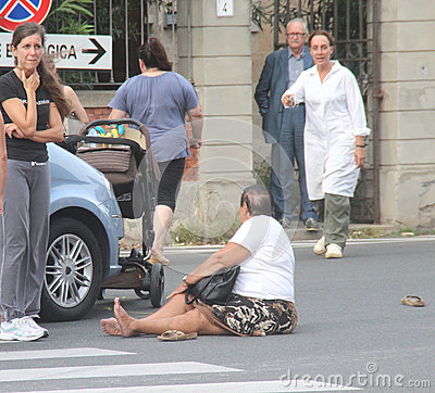 Accident Pedestrian With Strollers Hit By A Car Editorial Photo.