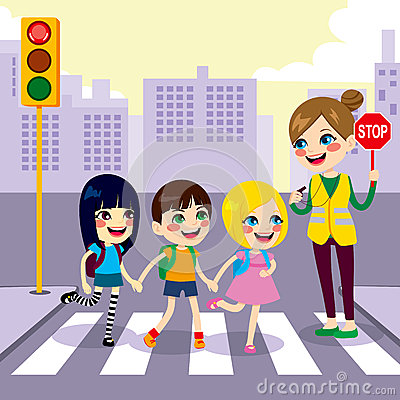 School Children Pedestrian Crossing Stock Vector.