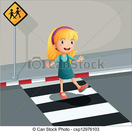 Vector Clipart of A young lady crossing the pedestrian lane.