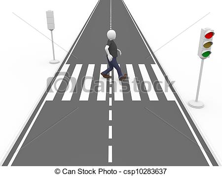 Drawings of Walking on a pedestrian pass.