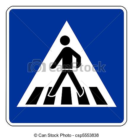 Stock Illustration of Pedestrian crossing sign isolated on white.