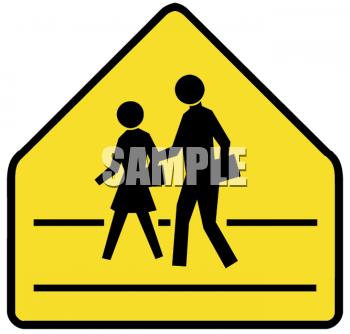 School Clipart Picture of Yellow Crosswalk Sign.