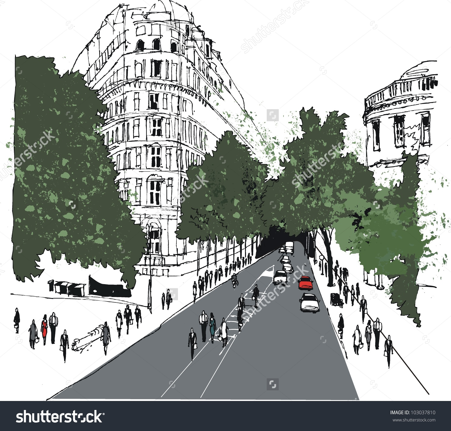 Vector Illustration Of Whitehall Street Scene With Pedestrians.
