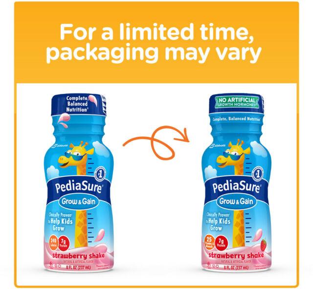 PediaSure Balanced Nutrition Beverage 8 FL Oz Bottles Strawberry Shake 6 EA.