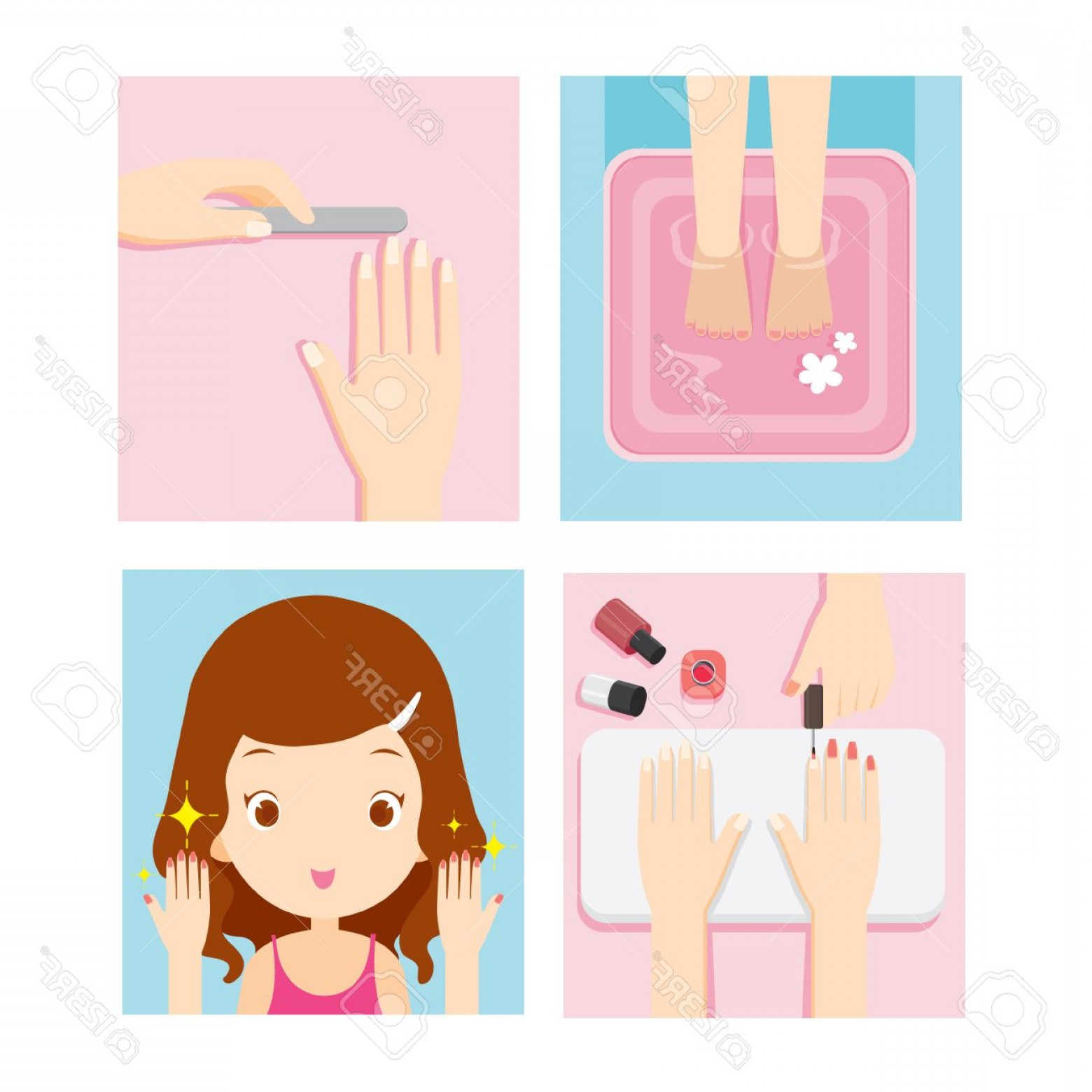 Photostock Vector Relaxing Girl In Nail Salon Set Beauty.