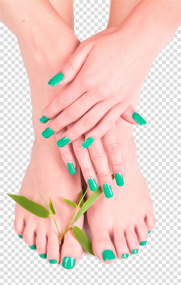 Teal nail polished manicure and pedicure, Pedicure Manicure.