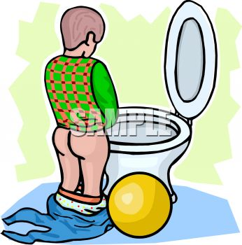 Cartoon of a Little Boy Peeing.