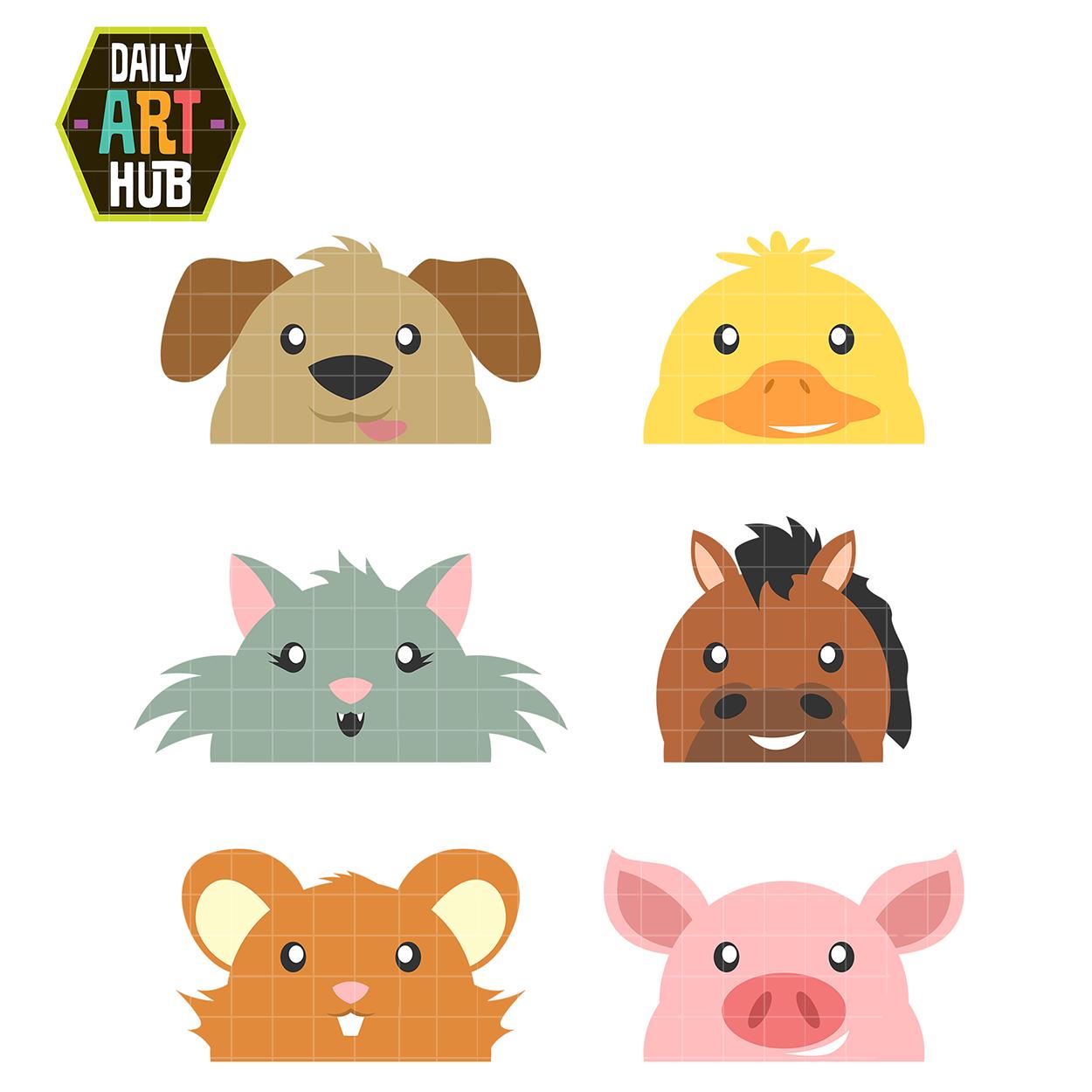 Peek A Boo Animals Clip Art Set.