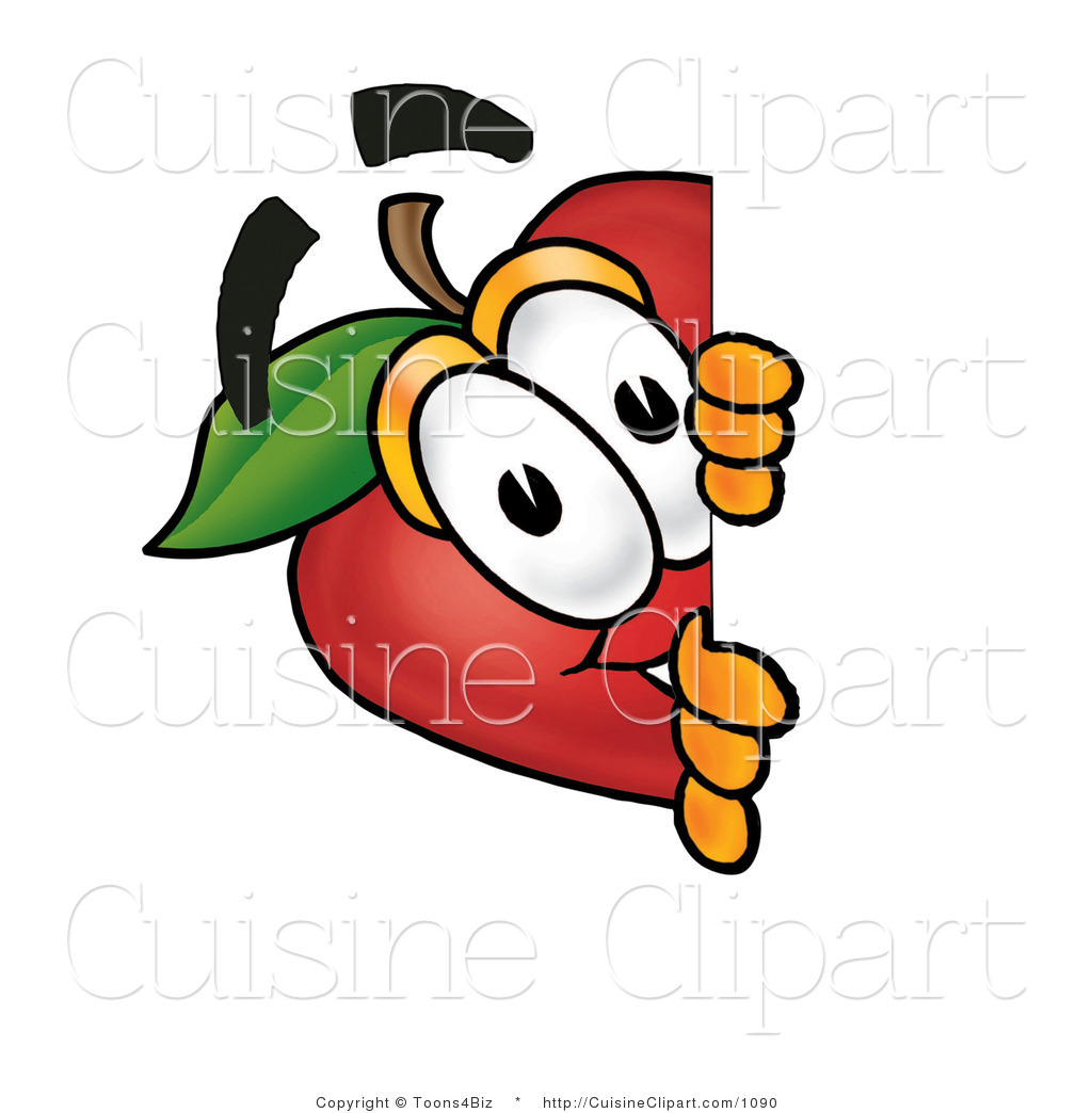 Cuisine Clipart of a Curious Red Apple Character Mascot Peeking.