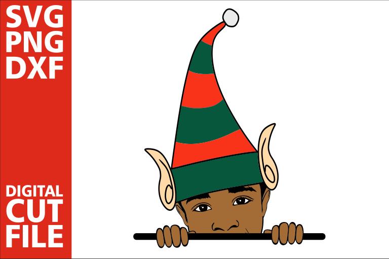 Peeking boy svg, Elf svg, Hat svg, Christmas svg, Peek a boo.